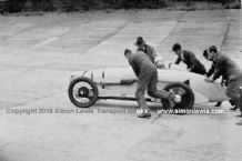 "Morris Minor ""100mph"" Single Seater. Photo. Van der Beck being pushstarted  at Brooklands."